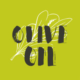 Vector hand lettering olive production logos or sign. Retro sketched extra virgin oil illustrations set for farm or cosmetics produce, packaging badges, tags, cafe, stores design etc. - 192680902