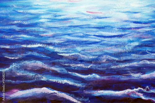 blue sea waves at night - oil painting wave close-up © weris7554