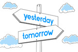 Tomorrow, yesterday - signpost, white background - 192685393