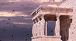 parthenon in Athens greece ancient monuments caryatids black birds