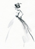 Abstract woman dress. Fashion illustration.  - 192685798