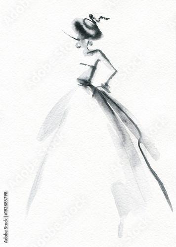 Fotobehang Anna I. Abstract woman dress. Fashion illustration.