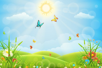 Summer landscape with green grass, hills, flowers and butterflies