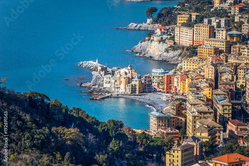 Papiers peints Ligurie Aerial view of city of Camogli, Genoa (Genova) province, Ligurian riviera, Mediterranean coast, Italy