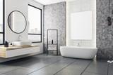 Modern bathroom with blank banner - 192694700
