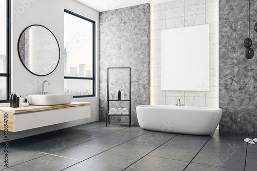 Modern bathroom with blank banner
