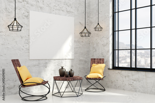 Contemporary living room with empty poster