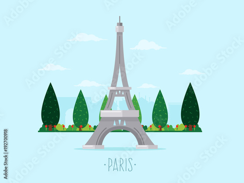 Wall mural Eiffel Tower. Flat Design Style.