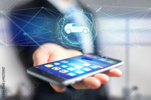 Poster Car icon on a futuristic interface