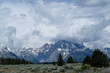 Quadro Grand Teton Mountains with low clouds