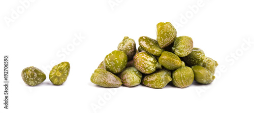 Fotobehang Verse groenten Capers isolated on white background. Pickled capers. Canned capers