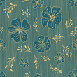 Vintage Floral Stroke Pattern with Beautiful Poppies and Twigs on a Striped Cerulean Blue Background - 192707398