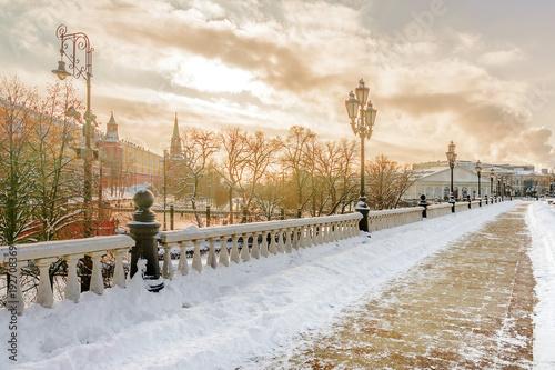 zimowy widok Manezhnaya kwadrat w Moskwa