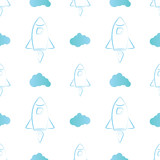 Rocket line style and cloud seamless pattern. vector illustration on white background. Design for Textile, Wallpaper, Fabric.