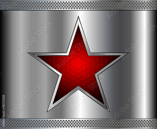 Silver metal background with red star inside