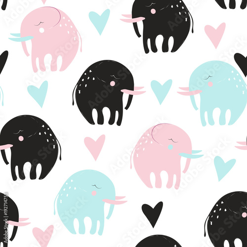 Cute childish seamless pattern with elephant. Vector hand drawn illustration.