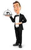 3d waiter standing with restaurant cloche - 192717378