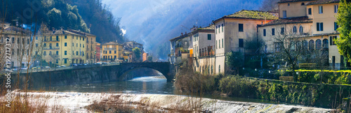 Plexiglas Freesurf Traditional villages of Tuscany - Bagni di Lucca, famous for termal waters. Italy