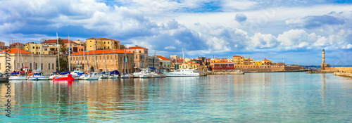 Plexiglas Freesurf Beautiful Greece series - picturesque old town of Chania. Crete island