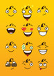 Funny cartoon comic faces on yellow background. Vector illustration. - 192718715