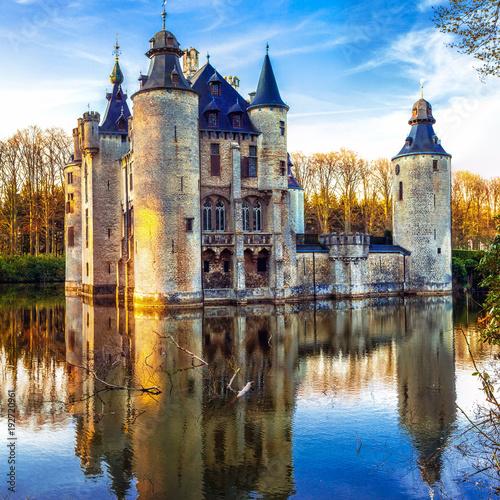 Plexiglas Freesurf Castles of Belgium - mysterious fairytale Vorselaar castle