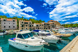Makarska rivera summer scenery. / Summer view at popular tourist resort in Croatia, Makarska town scenery in Croatia, Mediterranean.  - 192722592
