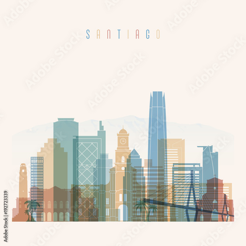 Santiago skyline detailed silhouette. Transparent style. Trendy vector illustration.