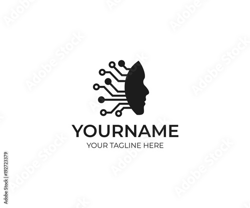 artificial intelligence and human face logo template circuits