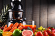 Slow juicer with organic fruits and vegetables. - 192726198