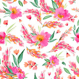 Seamless pattern with watercolor pink flowers. Lovely blooming floral compositions. - 192728576