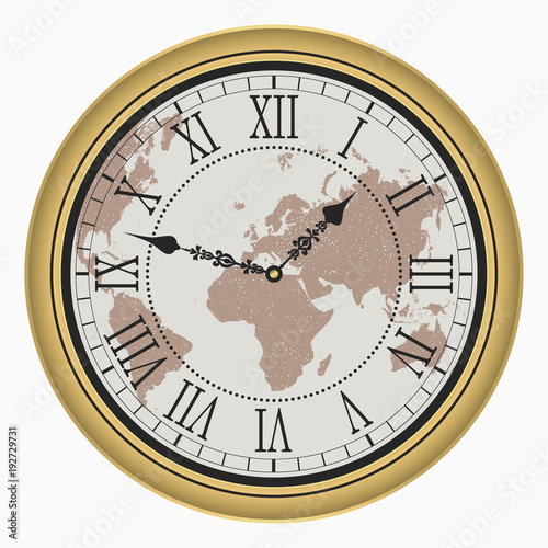Vintage clock with World map. Antique golden wall clock-face dial with Roman numeral. Vector illustration. © Roman