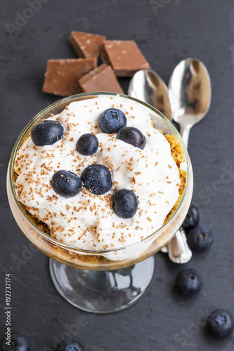 Tiramisu dessert in a glass with mascarpone cream and blueberries