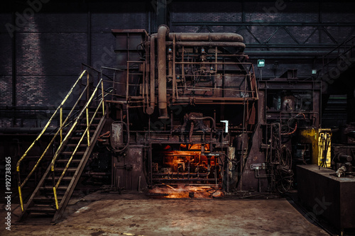 Poster Oude verlaten gebouwen interior of an old abandoned steel factory in western Europe