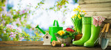 Gardening tools and spring flowers on the terrace - 192740989
