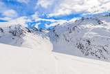 View of beautiful mountains covered with fresh snow during winter season, Obergurgl-Hochgurgl ski area, Austria