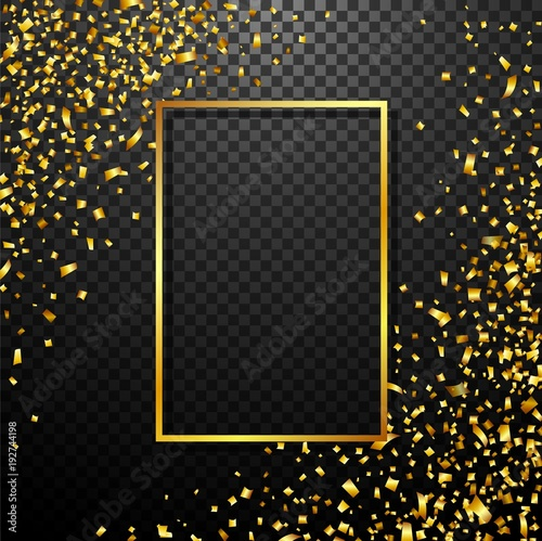 Luxury Celebrations background with falling pieces of metallic gold glitter and confetti