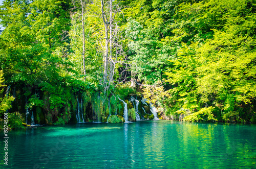 Deurstickers Lime groen Plitvice lakes waterfall