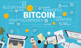 Bitcoin. Flat design style web banner of blockchain technology, bitcoin, altcoins, cryptocurrency mining, finance, digital money market, cryptocoin wallet, crypto exchange.  - 192748545