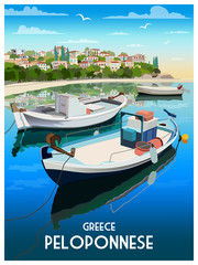 Summer day on the promenade of small town in Peloponnese, Greece. Handmade drawing vector illustration. Retro style. © alaver