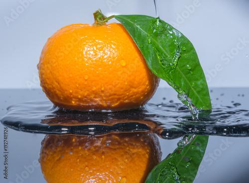 Orange mit wasser übergiessen - Wasser fliesst auf das Blatt der manderine