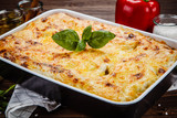 Lasagna on wooden table - 192749184