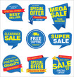 Modern sale stickers and tags blue collection  - 192750361