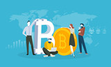 Cryptocurrency market analysis. Flat design style web banner of blockchain technology, bitcoin, altcoins, cryptocurrency mining, finance, digital money market, cryptocoin wallet, crypto exchange.  - 192750506