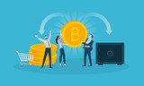Bitcoin security. Flat design style web banner of blockchain technology, bitcoin, altcoins, cryptocurrency mining, finance, digital money market, cryptocoin wallet, crypto exchange.  - 192757544