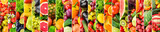 Panoramic collage with fruits and vegetables. Vertical stripes