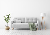 Living room interior with gray velvet sofa, pillows, green plaid, lamp and fiddle leaf tree in wicker basket on white wall background. 3D rendering. - 192762944