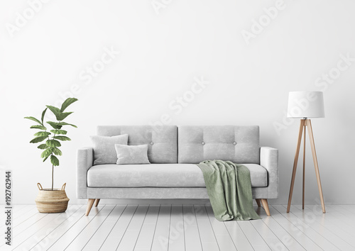 Leinwanddruck Bild Living room interior with gray velvet sofa, pillows, green plaid, lamp and fiddle leaf tree in wicker basket on white wall background. 3D rendering.