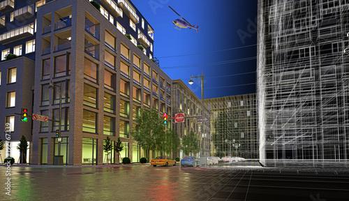 Centro di new york, illustrazione 3d, strada e palazzi, grattacieli e automobili © LaCozza