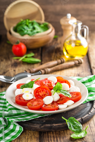 Tomato salad with mozzarella cheese and olive oil - 192769364