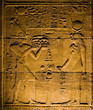 Hieroglyphs inside of the Temple of Philae, Egypt